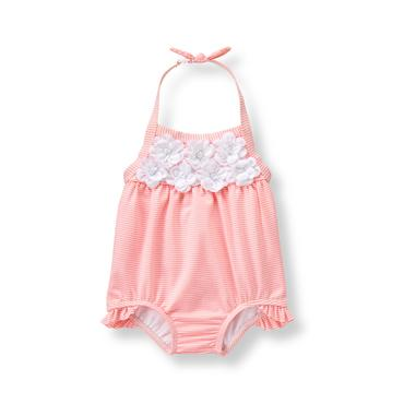 Baby Girl Strawberry Stripe Bloom Seersucker Swimsuit at JanieandJack