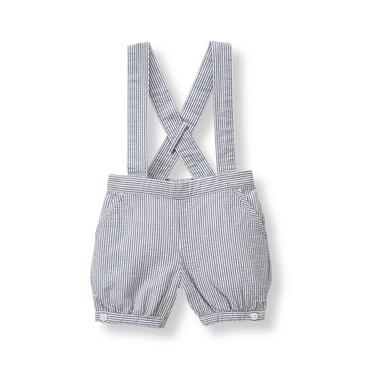 Baby Boy Navy Stripe Seersucker Suspender Short at JanieandJack