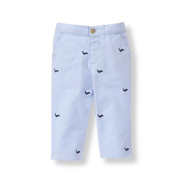 Baby Boy Sunwashed Blue Whale Embroidered Pant at JanieandJack