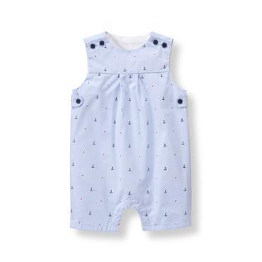 Baby Boy Sunwashed Blue Anchor Dobby Shortall at JanieandJack