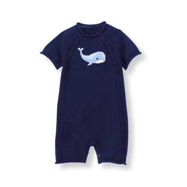 Baby Boy Navy Whale Sweater 1-Piece at JanieandJack