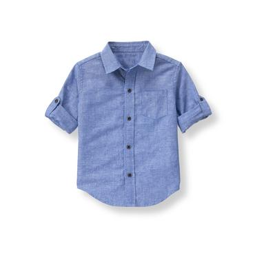 Boys Light Indigo Roll-Cuff Linen Shirt at JanieandJack