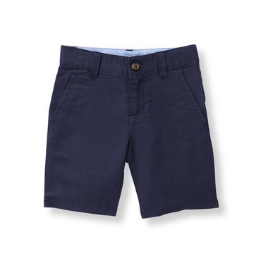 Boys Navy Linen Blend Short at JanieandJack