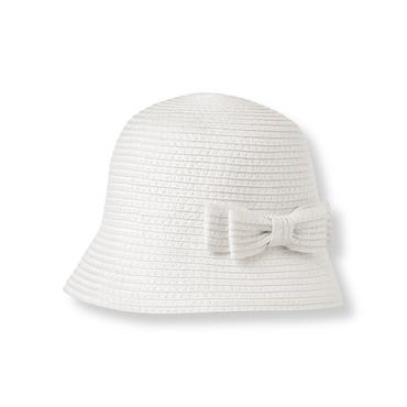 Baby Girl White Bow Cloche Hat at JanieandJack