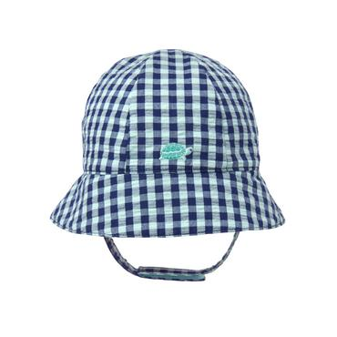 Baby Boy Aqua Gingham Gingham Turtle Hat at JanieandJack