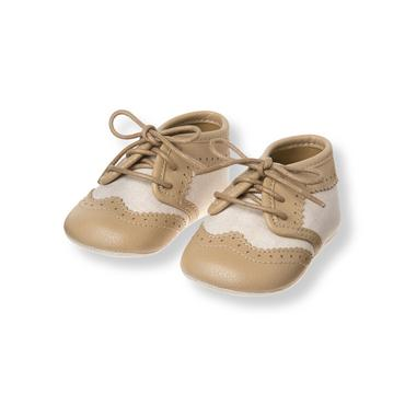 Baby Boy Light Khaki Wingtip Crib Shoe at JanieandJack