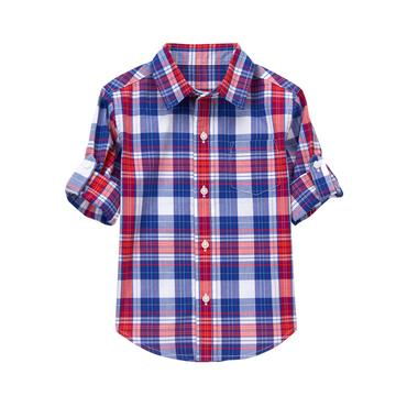 Boys True Blue Plaid Roll-Cuff Plaid Shirt at JanieandJack