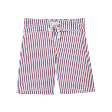 Carnival Red Stripe Seersucker Swim Trunk at JanieandJack