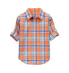 Plaid Madras Roll-Cuff Shirt