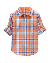 Plaid Madras Roll-Cuff Shirt