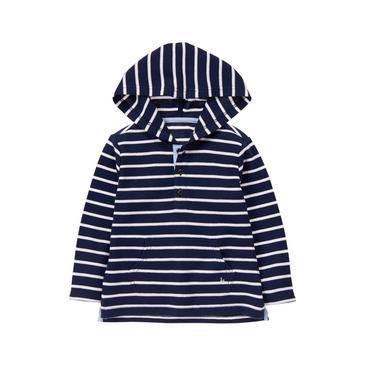 Baby Boy Navy Stripe Stripe Hooded Pullover at JanieandJack