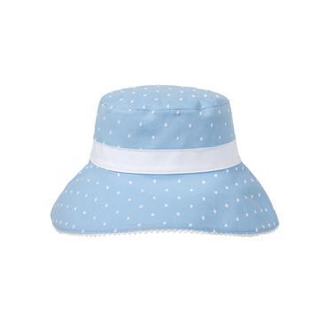 Baby Girl Sky Blue Swiss Dot Swiss Dot Bucket Hat at JanieandJack