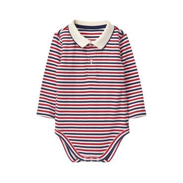 Baby Boy Coastal Red Stripe Striped Polo Bodysuit at JanieandJack