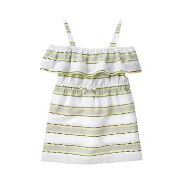 Baby Girl White Stripe Striped Ruffle Cover-Up at JanieandJack