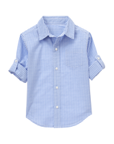 Roll-Cuff Gingham Shirt