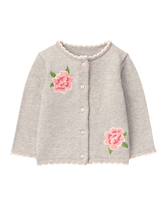 Embroidered Rose Cardigan
