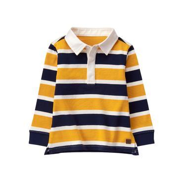 Baby Boy Golden Stripe Striped Rugby Shirt at JanieandJack