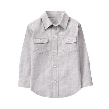 Baby Boy Heather Grey Double Pocket Shirt at JanieandJack