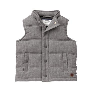 Boys Grey Herringbone Herringbone Puffer Vest at JanieandJack