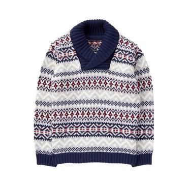 Boys Heather Grey Fair Isle Fair Isle Shawl Sweater at JanieandJack