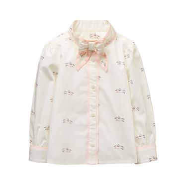Baby Girl Ivory Horse Print Horse Print Bow Top at JanieandJack