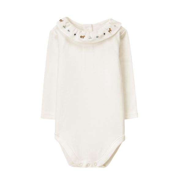 Embroidered Ruffle Bodysuit