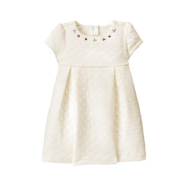 Ivory Embroidered Quilted Dress at JanieandJack