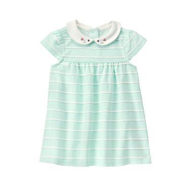 Fresh Mint Stripe Scalloped Knit Dress at JanieandJack