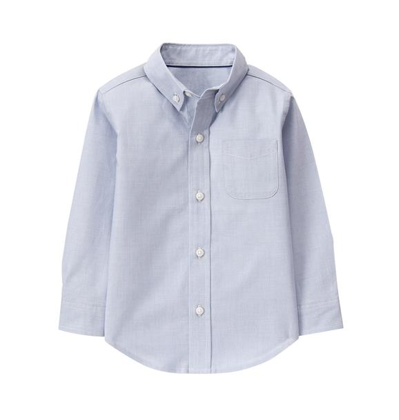 Boy Steel Blue Plainweave Shirt by Janie and Jack