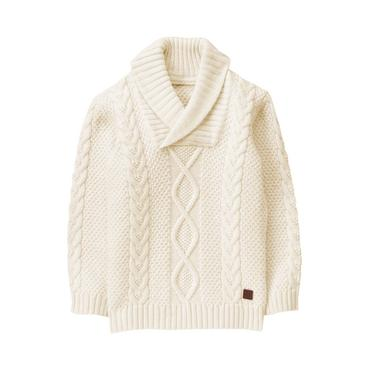Baby Boy Ivory Shawl Collar Sweater at JanieandJack
