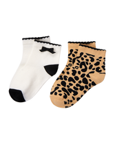 Leopard & Bow Sock 2-Pack