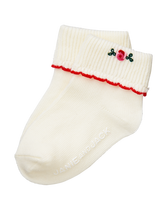 Embroidered Rosette Sock