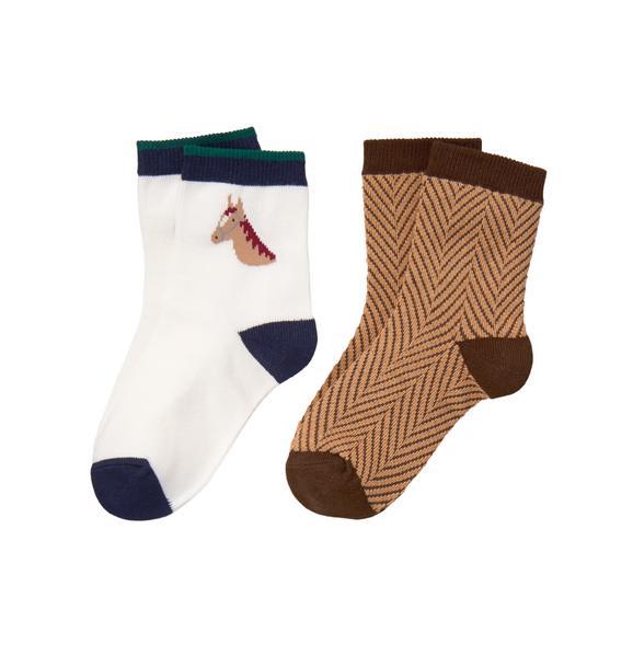 Horse & Herringbone Sock 2-Pack