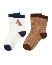 Horse and Herringbone Sock 2-pack