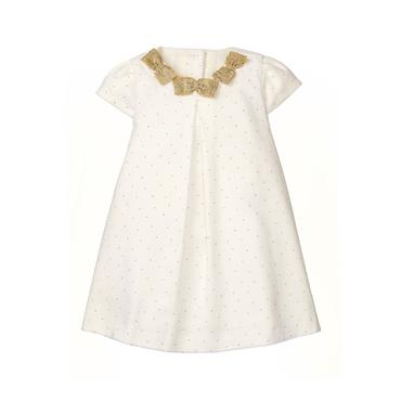 White Dot Print Velvet Bow Dress at JanieandJack