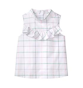 Windowpane Ruffle Top