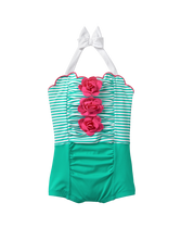 Striped Rosette Swimsuit