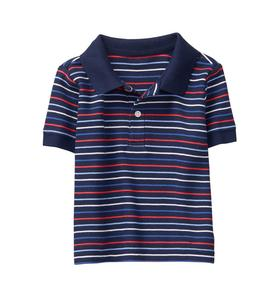 Striped Pique Polo