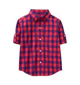 Roll-Cuff Gingham Shirt