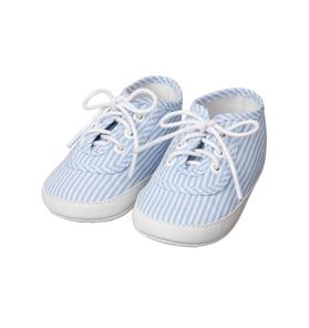 Striped Lace-Up Crib Shoe