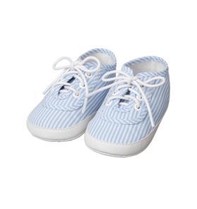 Striped Lace-Up Crib Shoe