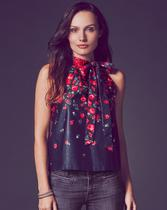 Falling Rose Tie Top