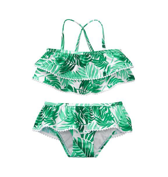 Palm Ruffle 2-Piece Swimsuit
