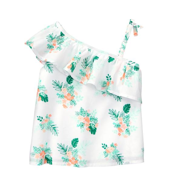 One-Shoulder Palm Floral Top