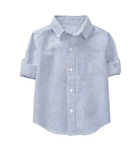 Roll-Cuff Striped Shirt