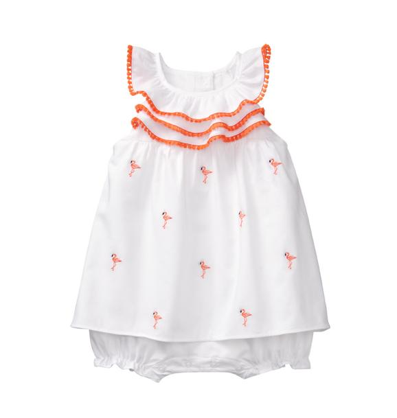 Embroidered Flamingo 1-Piece