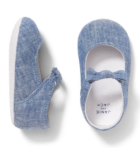 Chambray Bow Crib Shoe