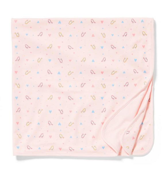 Bird and Heart Print Swaddle Blanket