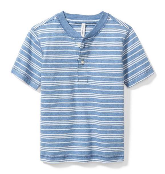 Striped Short Sleeve Henley Tee