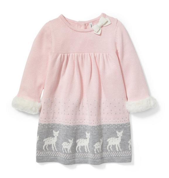 Deer Border Sweater Dress